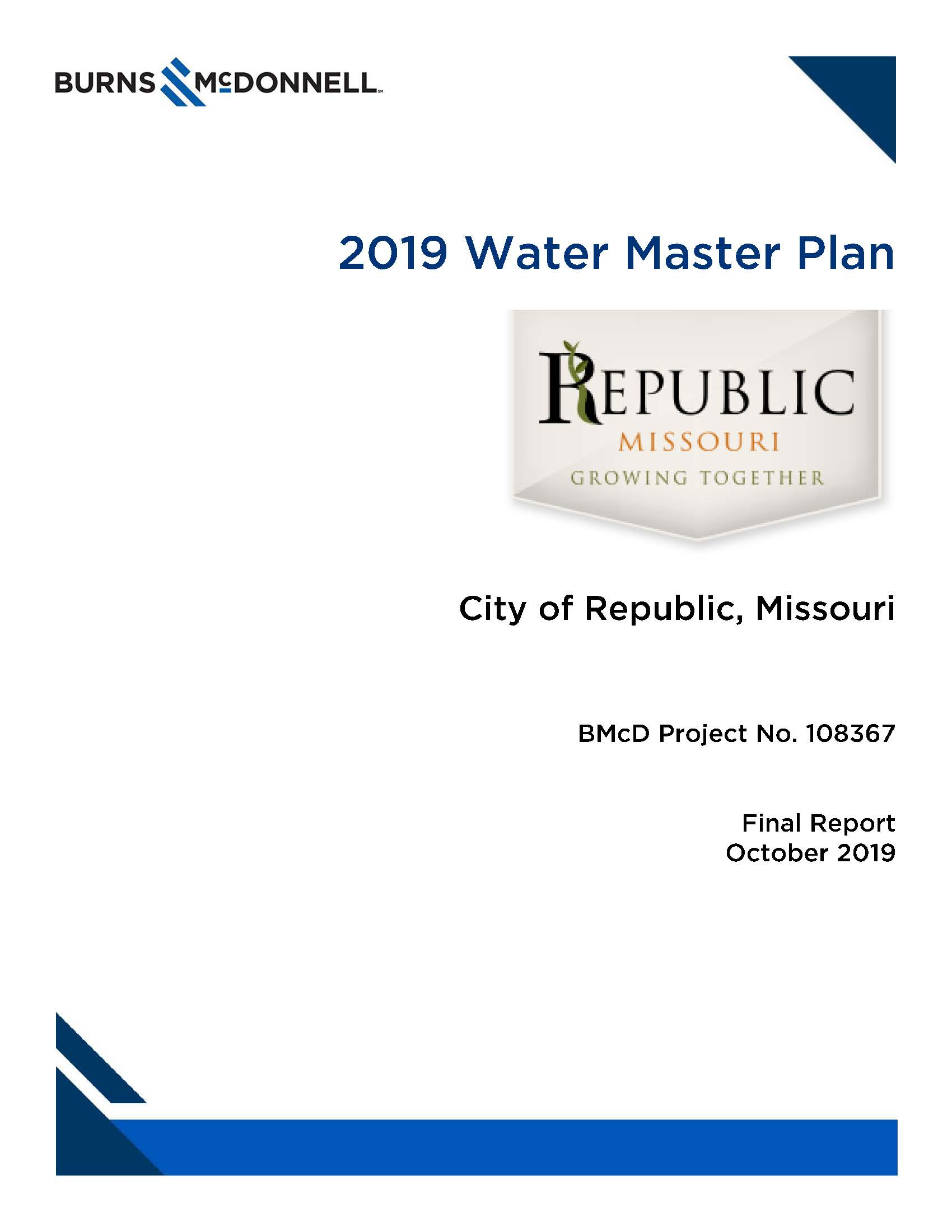 Republic MO 2019 Water Master Plan Opens in new window